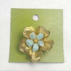 Antique Pansy Brooch Gold and Turquoise